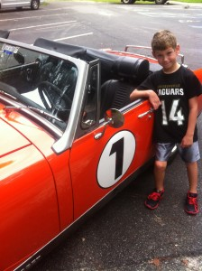 My Grandson with Great Grand Dad's Car